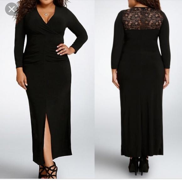 6d6a33477fb NEW Torrid surplice bodycon long black dress